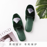 NotJust Pajama Men's Handmade Indoor Leather Slippers Simple Couple Velvet Slippers