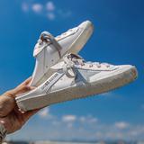 半拖鞋女夏季2018新款小白鞋无后跟懒人鞋女包头鞋女真皮凉拖外穿