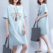 胖妹夏装字母印花短袖T恤裙加肥加大码女装中长款宽松显瘦连衣裙