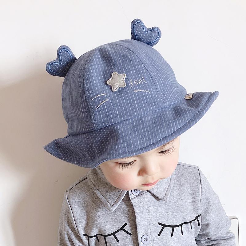 宝宝帽子春秋渔夫帽薄款遮阳8个月-2岁韩版婴儿男女童帽猫咪盆帽