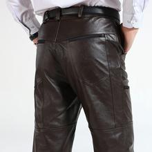 冬新款棕色牛皮皮裤男 海宁真皮大码直通高腰骑机车加绒保暖皮裤