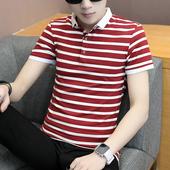 T恤男裝 T恤翻領條紋POLO衫 男修身 潮流半袖 短袖 韓版 夏季男士 上衣潮