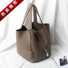 New Type of Home Vegetable Basket, Water Bucket, Litchi Pattern Togo Head Layer Cow Leather Bride Handbag, True Leather Girl Bag, 2019