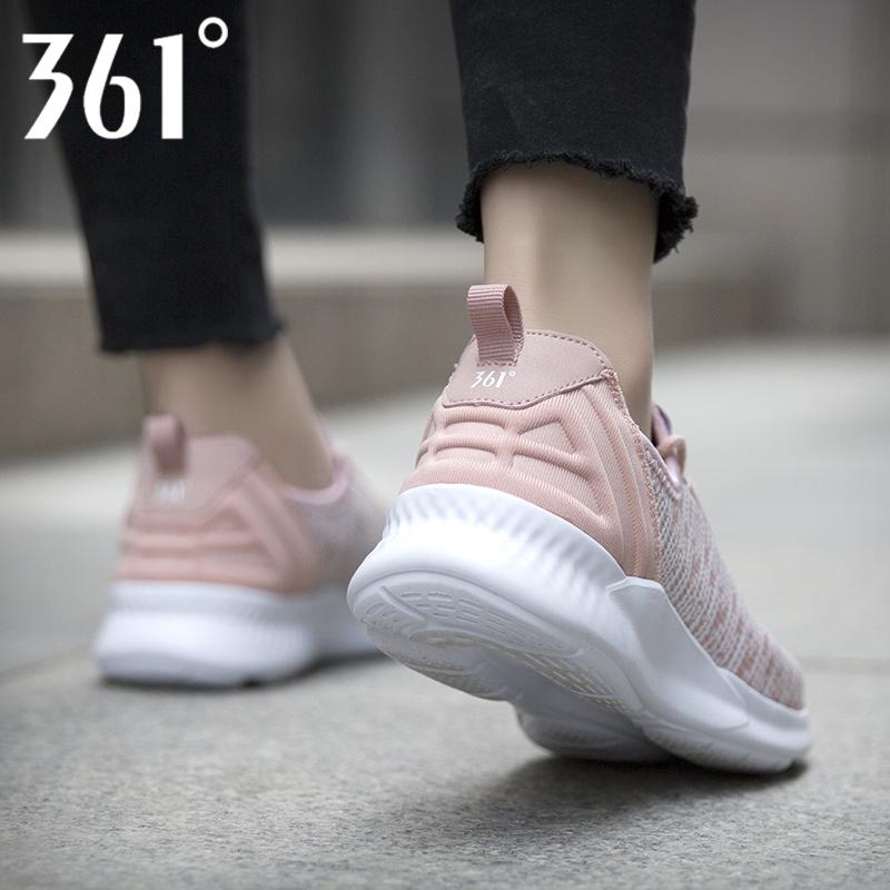 361女鞋跑步鞋2019春季新款361度正品学生休闲品牌樱花粉运动鞋女