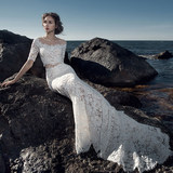 One-shoulder wedding dress 2019 new Korean bride married thin tail fishtail princess travel wedding dress female