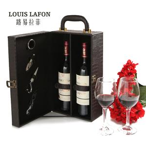 法国原瓶原装进口红酒路易拉菲干红葡萄酒双支送礼礼盒装正品红酒