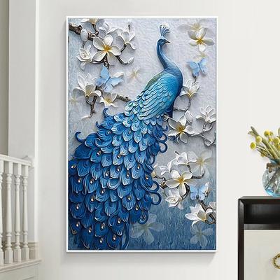 蓝色孔雀装饰画配ps相框现代客厅挂画玄关画欧式动物装饰壁画是什么牌子