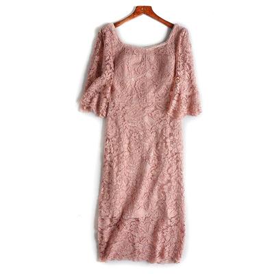 2018夏季新品气质优美立体蕾丝花纹七分袖连衣裙