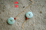 <無雙> old pit jade ping-button earring earring earrings drop, 18K gold