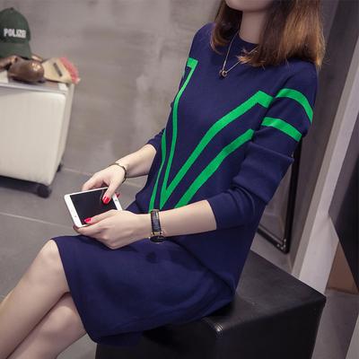 加大码女装针织中长款显瘦打底衫韩版胖MM最爱宽松毛衣T恤裙200斤