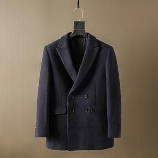 罗系撤柜秋冬复古双排扣西服领羊毛大衣商务休闲日式呢子大衣外套