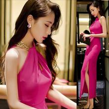 夜店性感女装时尚气质新款韩版露肩挂脖连衣裙修身长裙显瘦晚礼服