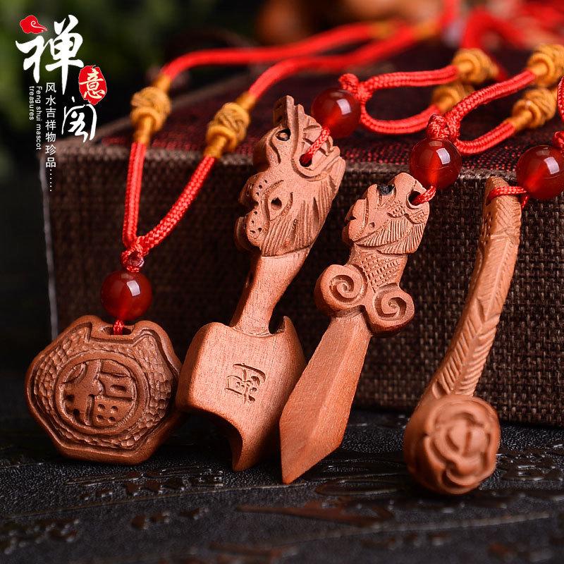 木雕桃木項鏈