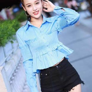 2017秋季新款女装韩版翻领收腰显瘦长袖衬衫外穿短款修身百搭上衣