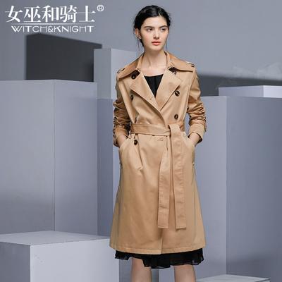 女巫2018春秋装新款欧美双排扣系带时尚长款风衣外套女长袖过膝