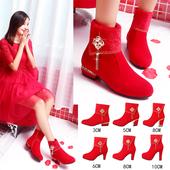 红鞋婚靴女红色婚鞋中式粗跟加绒新娘鞋子平跟孕妇大码结婚鞋马靴