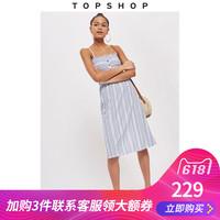 TOPSHOP PETITE娇小版条纹纽扣花边抹胸吊带连衣裙26J18NBLE