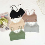 Korean version of the new pure color sports no underwire bra bra women's sense lace patchwork students breast beauty back