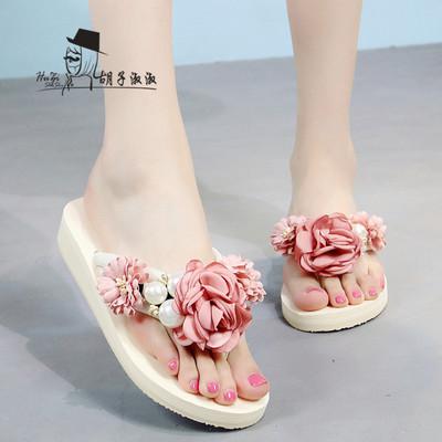 坡跟人字拖女夏外穿花朵海边夹脚凉拖时尚平底沙滩鞋室外厚底拖鞋