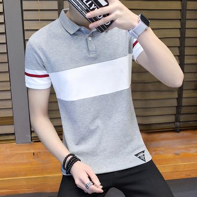 短袖t恤男士2018夏季新款男装衬衫领半袖打底衫polo衫上衣服小衫