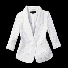 Lace small suit jacket, women's spring and autumn short style, thin self-cultivation Korean version of leisure white large-size suit jacket