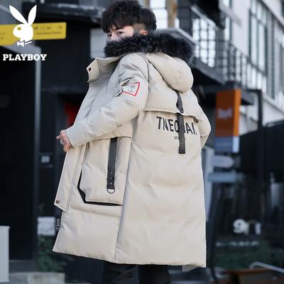 花花公子棉衣男士中长款冬季外套2018新款潮流羽绒棉服加厚棉袄