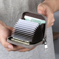 Card package men's large capacity multi-card zipper organ anti-theft brush ultra-thin document card holder bank NFC card sets