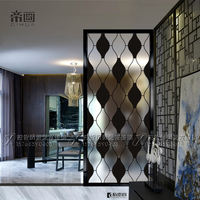 Art glass partition mill Carved modern minimalist shoe cabinet Double-sided screen living room black plaid