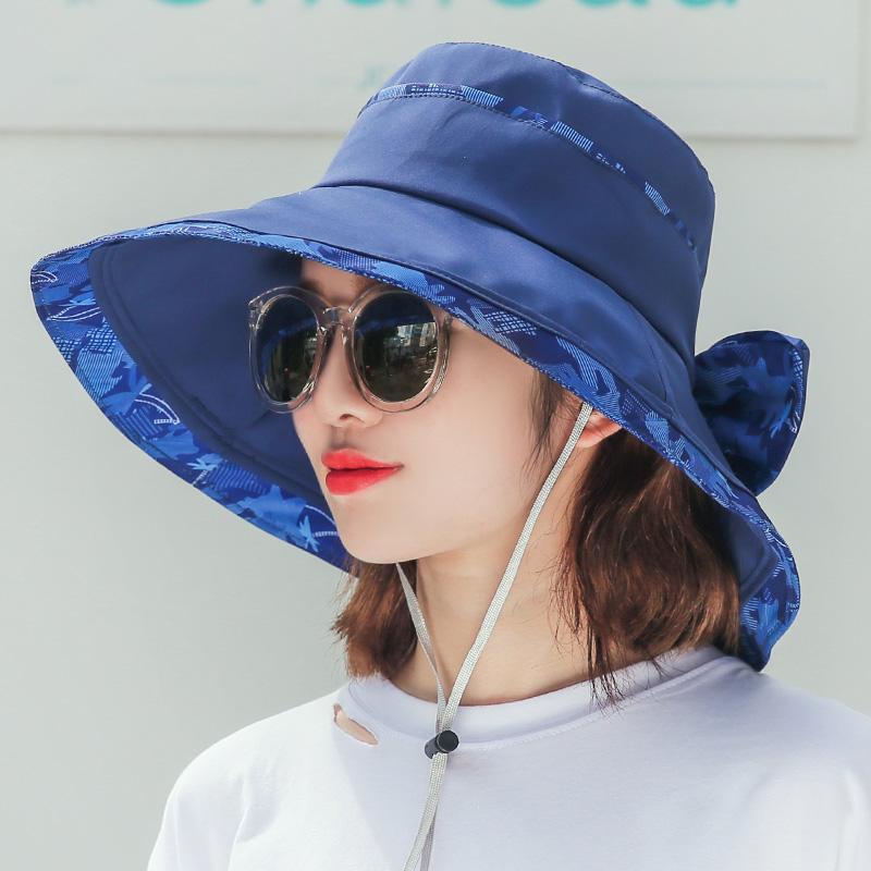 帽子女夏天韩版百搭户外防晒帽防紫外线折叠遮阳帽出游大沿太阳帽