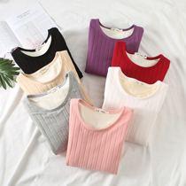 冬季加厚加绒打底衫女装T恤大码纯棉圆领修身保暖衣长袖外穿绒衫