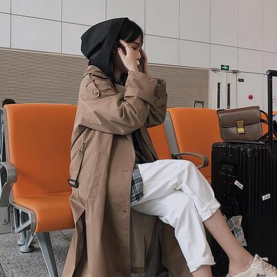 韩国东大门女士风衣春秋2018新款连帽拼接军绿色大衣长款过膝外套