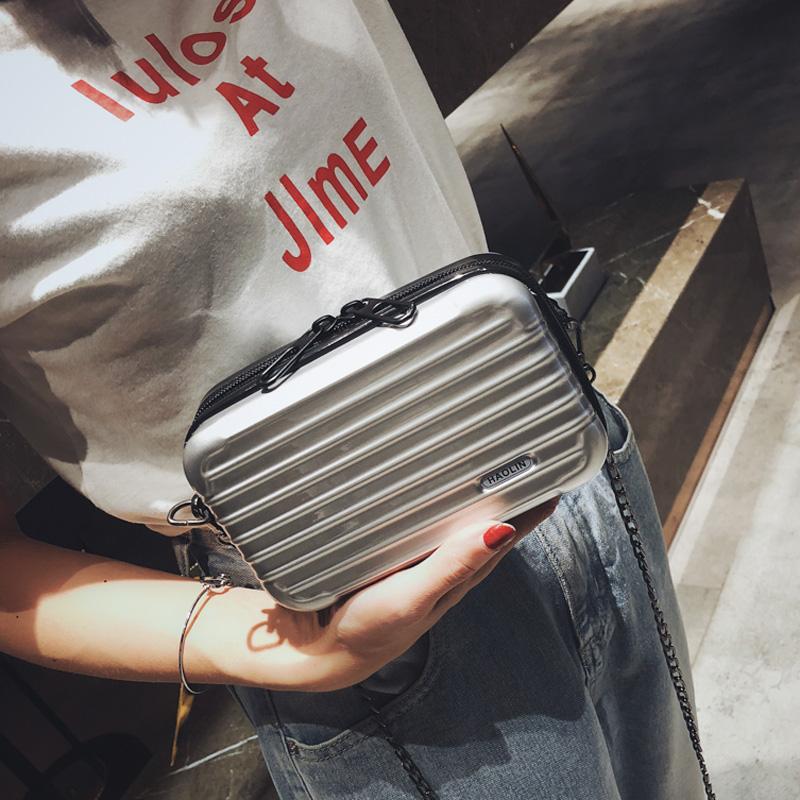 高级感小包包女2019新款韩版迷你旅行箱链条单肩包百搭斜挎小方包