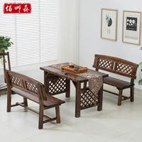 户外桌椅组合碳化防腐实木餐椅组合休闲庭院花园桌椅阳台桌椅套件