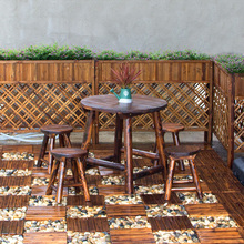 碳化防腐木庭院公园桌椅组合别墅休闲椅农庄餐桌椅圆棒椅组合