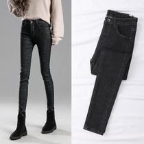 高腰加绒牛仔裤女紧身小脚春装2019新款女装韩版显瘦黑色长裤子女