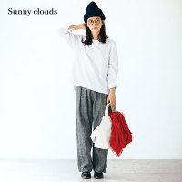 Sunny clouds Shuttle Notes日本面料女式棉麻格子高腰直筒裤
