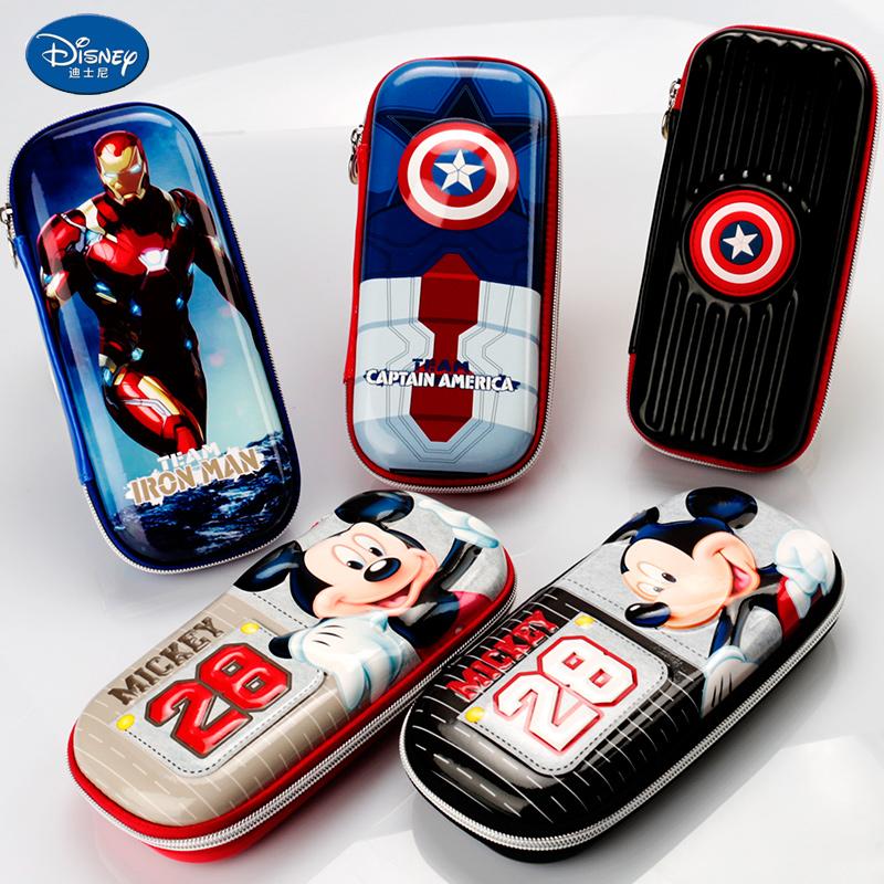 迪士尼儿童文具盒多功能大容量男孩美国队长笔袋男童小学生铅笔盒