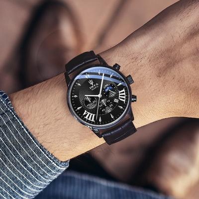 ✅2018新款迪塔概念时尚潮韩版石英表男表真皮带防水学生男士手表