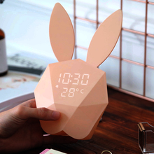 学生卧室床头夜光咪兔子电子静音智能音乐小闹钟创意可爱儿童钟表