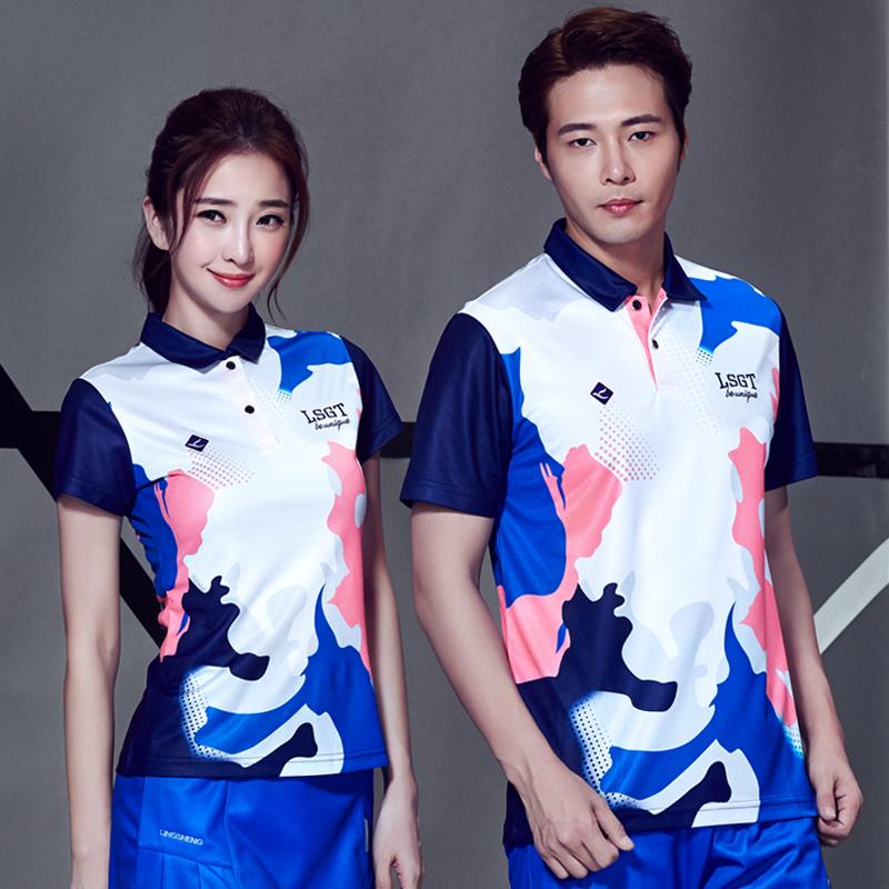 夏季新款正品领胜羽毛球服女款短袖T恤速干透气翻领运动上衣S25
