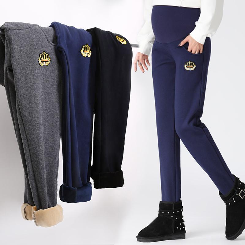 孕妇裤冬季加厚加绒外穿宽松长裤保暖裤冬天打底裤孕妇运动裤冬款