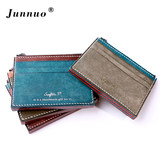 Junno leather ultra-thin wallet men's short wallet handmade wallet tide driving license set creative zipper card package