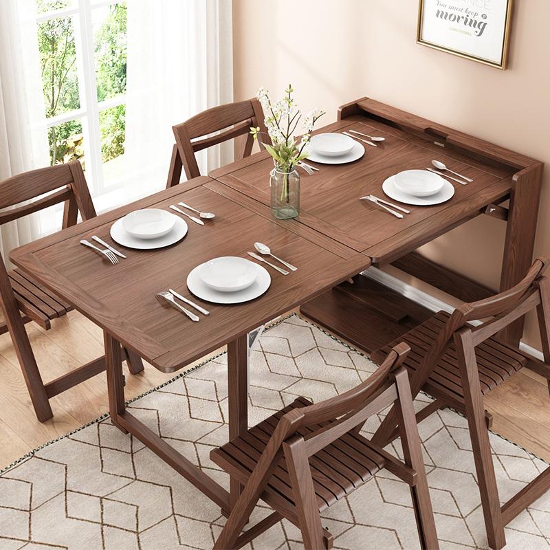 华纳斯餐桌北欧伸缩折叠实木餐桌椅组合现代简约小户型多功能饭桌