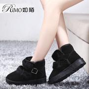 如陌真皮加厚短靴冬季冬天女鞋子雪地靴大号特大码女靴40-41-43