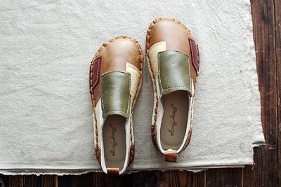 森林系拼色单鞋秋季新款真皮软底女鞋圆头原宿风文艺复古娃娃鞋