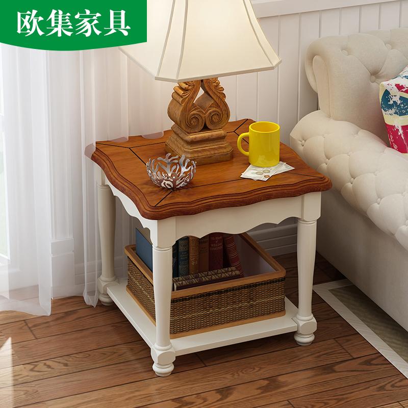 欧集 美式实木方几地中海沙发角几客厅电话几欧式小户型储物茶几