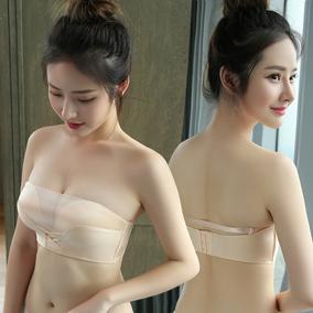 无肩带防走光裹胸式加厚小胸罩聚拢文胸抹胸隐形防滑上托女内衣夏