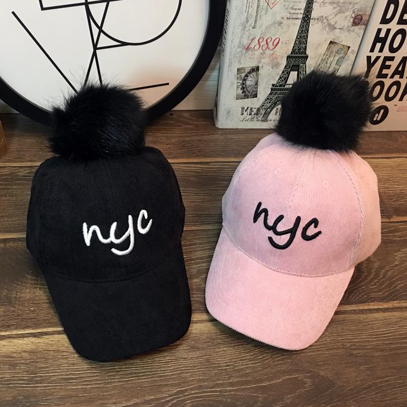 韩版棒球帽兔毛