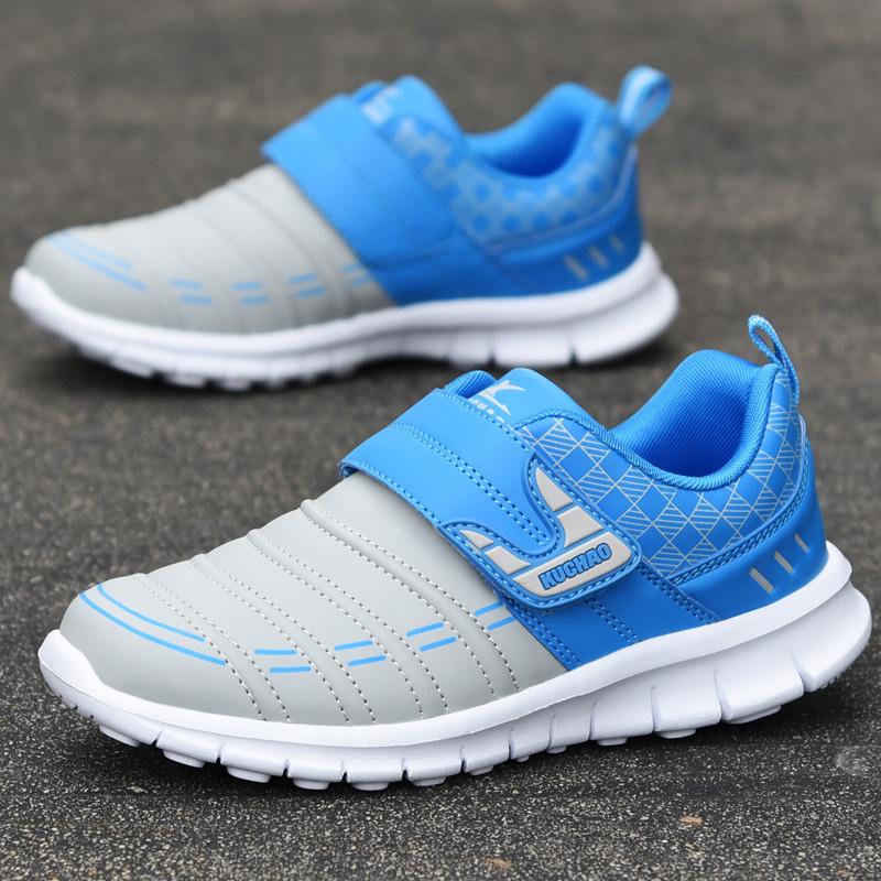 秋天新款男童鞋子小男孩运动鞋防水皮面中大童跑步鞋儿童旅游波鞋