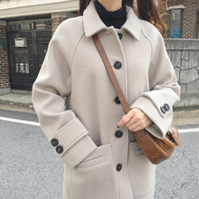 Korean version winter cotton thick medium and long style woolen cloth overcoat, slim and long sleeve college trend